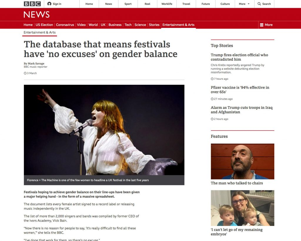 BBC News: The database that means festivals have 'no excuses' on gender balance